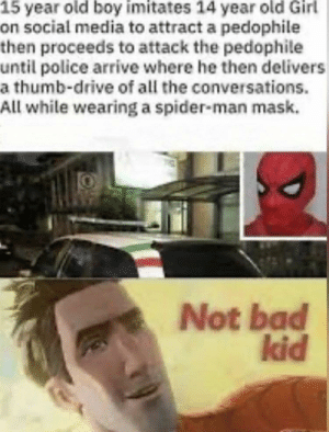 What a lad.: 15 year old boy imitates 14 year old Girl  on social media to attract a pedophile  then proceeds to attack the pedophile  until police arrive where he then delivers  a thumb-drive of all the conversations.  All while wearing a spider-man mask.  Not bad  kid What a lad.
