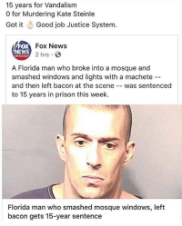 America, Florida Man, and Memes: 15 years for Vandalism  o for Murdering Kate Steinle  Got it Good job Justice System.  FOX  EWS  Fox News  2 hrs  chenno  A Florida man who broke into a mosque and  smashed windows and lights with a machete -  and then left bacon at the scene -- was sentenced  to 15 years in prison this week.  Florida man who smashed mosque windows, left  bacon gets 15-year sentence merica america usa