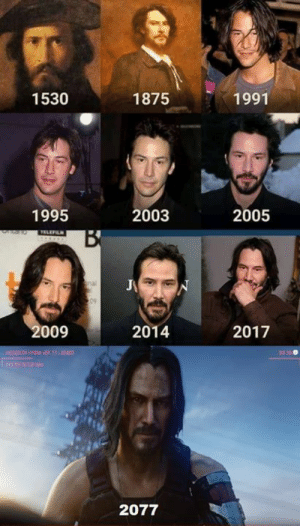 Keanu Reeves is the real Dracula, he never ages: 1530  1875  1991  1995  2003  2005  TELEFILN  B  09  2009  2014  2017  20  HICROO  2077 Keanu Reeves is the real Dracula, he never ages