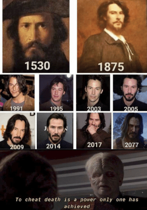 Thank the maker it's Keanu: 1530  1875  1995  1991  2003  2005  J  nal  S09  2017  2077  2009  2014  To cheat death is a power only one has  achieved Thank the maker it's Keanu