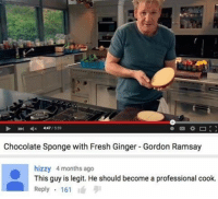 Nighty: 1559  Chocolate Sponge with Fresh Ginger Gordon Ramsay  hizzy 4 months ago  This guy is legit. He should become a professional cook.  Reply  161 Nighty