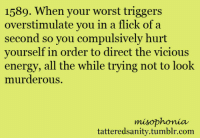 <p>submitted by anonymous</p>: 1589. When your worst triggers  overstimulate you in a flick of a  second so you compulsively hurt  yourself in order to direct the vicious  energy, all the while trying not to look  murlerous  misophonia  tatteredsanity.tumblr.com <p>submitted by anonymous</p>