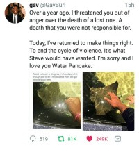 <p>Sorry, Water Pancake</p>: 15h  gav @GavBurl  Over a year ago, I threatened you out of  anger over the death of a lost one. A  death that you were not responsible for.  Today, r've returned to make things right.  To end the cycle of violence. It's what  Steve would have wanted. I'm sorry and  love you Water Pancake  About to touch a sting ray..l should punch it  though just to let it know Steve Irwin still got  shooters out here  PETTY  ME  519 t 81K <p>Sorry, Water Pancake</p>