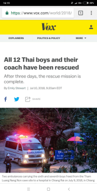 Politics, Hospital, and World: 16:19  https://www.vox.com/world/2018/1  Vox  EXPLAINERS  POLITICS & POLICY  MORE  All 12 Thai boys and their  coach have been rescued  After three days, the rescue mission is  complete.  By Emily Stewart | Jul 10, 2018, 9:20am EDT  SHARE  Two ambulances carrying the sixth and seventh boys freed from the Tham  Luang Nang Non cave site to a hospital in Chiang Rai on July 9, 2018, in Chiang <p>The all have been rescued!</p>