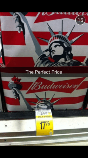 chub: 16  31  The Perfect Price  Budweiser  2499  Chub Price  17 76