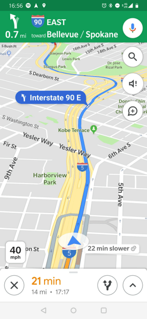 Google, Kobe, and Hell: 16:56  4G  LTE  90 EAST  0.7mi toward Bellevue/ Spokane  S Bush Pl  16th Ave S  hell  15th Ave S  Daejeon Park  14th Ave S  Lewis Park  Dr. Jose  Rizal Park  Sturgus Park  S Dearborn St  Y Interstate 90 E  C AVe  Don Chin  Int  al  Chi  +  rk  S Washington St  Kobe Terrace  Yesler Way Yesler Way  Fir St  6th Ave S  5  Harborview  Park  40  on St  22 min slower  5  mph  21 min  14 mi 17:17  CE  5th Ave  9th Ave  X Really Google? You seriously think I would consider an alternative route that is 22 mins slower?