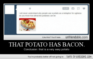 that potato has bacon.http://omg-humor.tumblr.com: 16,853  I will never understand why people use a potato as a metaphor for ugliness  do you know how attractive potatoes can be  unfriendable.com  Like this? You'll hate  THAT POTATO HAS BACON.  Conclusion: that is a very sexy potato  TASTE OFAWESOME.COM  You're probably better off not going to that potato has bacon.http://omg-humor.tumblr.com