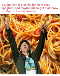 😂😂😂😂😂😂😂😂: 16. Eminem is thankful for his mom  spaghetti and maybe tide to get that throw  up stain out of his sweater. 😂😂😂😂😂😂😂😂
