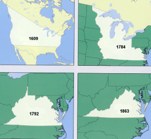 fishmech: mapsontheweb: Virginia's territorial claims over the years. with your donations, we can reduce virginia even further : 1609  1784  1863  1792 fishmech: mapsontheweb: Virginia's territorial claims over the years. with your donations, we can reduce virginia even further