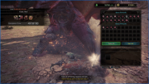 """Monster Hunter World gives you 50 minutes to complete a mission. This is how much time I had at the end of my successful attempt of this limited time mission...: 16763 pts  57200 z  Level ********  Code: Red  Quest Rewards  49'59""""60  Completion Time  Bonus Rewards  Take All  Sell All  X Confirm  A Hide Menu  Take all remaining rewards and exit.  (Items will be sent to the item box.) Monster Hunter World gives you 50 minutes to complete a mission. This is how much time I had at the end of my successful attempt of this limited time mission..."""
