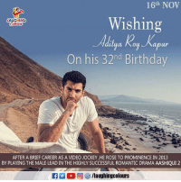 Birthday Wishes To Dashing Actor #AdityaRoyKapur :): 16th NOV  Wishing  LAUGHING  abur  On his 32nd Birthday  AFTER A BRIEF CAREER AS A VIDEO JOCKEY HE ROSE TO PROMINENCE IN 2013  BY PLAYING THE MALE LEAD IN THE HIGHLY SUCCESSFUL ROMANTIC DRAMA AASHIQUI 2  A:  回參/laughingcolours Birthday Wishes To Dashing Actor #AdityaRoyKapur :)