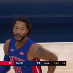 🌹 Detroit Derrick Rose with the crossover!   18 PTS & a team-high 9 AST off the bench  https://t.co/PwLVER7bPh: 17  13  PACERS  1st Qtr  3:23  24  PL5 🌹 Detroit Derrick Rose with the crossover!   18 PTS & a team-high 9 AST off the bench  https://t.co/PwLVER7bPh