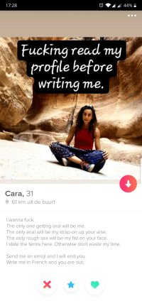 I think Im gonna pass up on this one: 17:28  Fucking read my  profile before  Writimq me.  Cara, 31  61 km uit de buurt  l wanna fuck.  The only one getting oral will be me  The only anal will be my strap-on up your arse.  The only rough sex will be my fist on your face.  l state the terms here. Otherwise dont waste my time.  Send me an emoji and I will end you.  Write me in French and you are out I think Im gonna pass up on this one