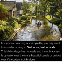 Beautiful, Facts, and Life: 17  9  For anyone dreaming of a simple life, you may want  to consider moving to Giethoorn, Netherlands.  This idyllic village has no roads and the only access  is by water over the many beautiful canals or on foot  over it's wooden arch bridges. Did you know? ⇒Love ❤️, flow 💬, serve ✨⇐ . . . . . . . . . . . . . nature habitat geyser science amazing facts video natural italy sand wow instatag facts instafun instavideo videos spiritual beautiful london amazingfact memes mindblown fact magic insta sun trees tree book