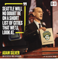 Nba, Seattle, and Silver: 17  B R  SEATTLE WILL  NO DOUBT BE  ONASHORT  LIST OF CITIES  THAT WELL  LOOK AT  SEATTLE  0  ONICS  SEATTLE SUPERSONICS  ADAM SILVER  ON POTENTIAL NBA EXPANSION  HIT THE PLAYERS' TRIBUNE 🔜
