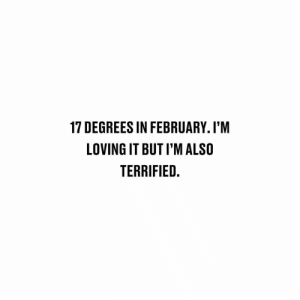 Memes, 🤖, and February: 17 DEGREES IN FEBRUARY. I'M  LOVING IT BUT I'M ALSO  TERRIFIED 😬😬😬