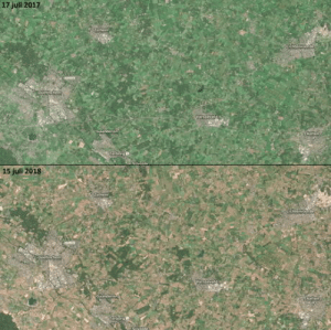 Netherlands, The Netherlands, and Satellite: 17 juli 2017  15 juli 201830 Drought in the Netherlands visible through satellite footage.