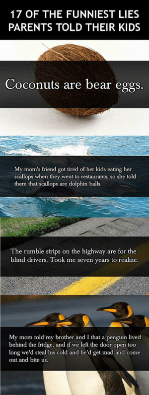 srsfunny:  The Funniest Lies Parents Told Their Kidshttp://srsfunny.tumblr.com/: 17 OF THE FUNNIEST LIES  PARENTS TOLD THEIR KIDS  Coconuts are bear eggs.  My mom's friend got tired of her kids eating her  scallops when they went to restaurants, so she told  them that scallops are dolphin balls.  The rumble strips on the highway are for the  blind drivers. Took me seven years to realize.  My mom told my brother and I that a penguin lived  behind the fridge, and if we left the door open too  long we'd steal his cold and he'd get mad and come  out and bite us. srsfunny:  The Funniest Lies Parents Told Their Kidshttp://srsfunny.tumblr.com/