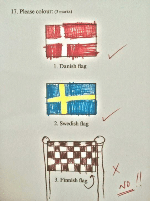 Swedish, Danish, and Finnish: 17. Please colour: (3 marks)  1. Danish flag  2. Swedish flag  3. Finnish flag Finnish flag