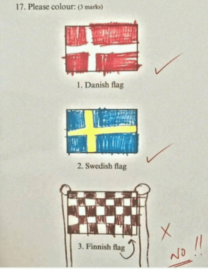 Finish flag: 17. Please colour: (3 marks)  1. Danish flag  2. Swedish flag  3. Finnish flag Finish flag