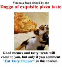 """You Have Been Visited By: You have been visited by the  Doggo of exquisite pizza taste  Good memes and tasty treats will  come to you, but only if you comment  """"Eat Tasty, Pupper"""" in this thread."""