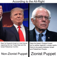 right-on: According to the Alt-Right  Says he Supports Israel on most Issues  Says he doesn't Support Israel  regarding the Iran Trade Deal and the  but is neither Against it, simply wants  Israeli-Palestinian Conflict.  there to be peace between Israeli  and Palestinian People.  Non-Zionist Puppet  Zionist Puppet