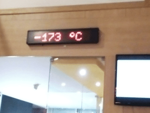 New glacial era in my bowling alley (sorry for the bad quality): -173 °C New glacial era in my bowling alley (sorry for the bad quality)