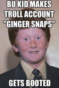 Ginger Snap Meme: BU KID MAKES  TROLLACCOUNT  GINGER SNAPS  GETS BOOTED