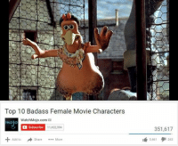watchmojo: OO  Top 10 Badass Female Movie Characters  WatchMojo.com  mojo  Subscribe  11,422,394  Share  More  Add to  351,617  5,461  263