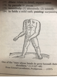 """intently: 177. dilate: relate in detail, expand upon  178. by parcels: in pieces  179. intentively: (1) attentively; (2) intently  184. in falth: a mild oath; passing: surpassing  One of the """"men whose heads do grow beneath their  shoulders."""" (1.3.167-68)  From Conrad Lycosthenes, Prodigiorum.. (1557)"""