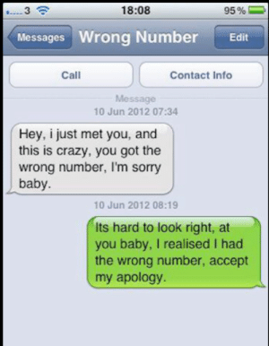 Crazy, Sorry, and Bad Fake Texts: 18:08  95%  3  Messages Wrong Number  Edit  Call  Contact Info  Message  10 Jun 2012 07:34  Hey, i just met you, and  this is crazy, you got the  wrong number, I'm sorry  baby.  10 Jun 2012 08:19  Its hard to look right, at  you baby, I realised I had  the wrong number, accept  my apology. This hurts to read