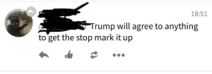All about them stops: 18:51  Trump will agree to anything  to get the stop mark it up All about them stops