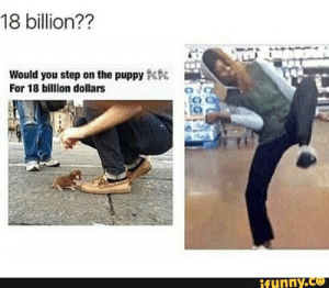 Meme, Puppy, and Time: 18 billion??  Would you step on the puppy  For 18 billion dollars  ifunny.co Waffle Stomp Meme Save Time   www.picsbud.com