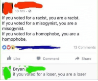 America, Facebook, and Friends: 18 hrs  If you voted for a racist, you are a racist.  If you voted for a misogynist, you are a  misogynist.  If you voted for a homophobe, you are a  homophobe.  13 Comments  I Like  Comment  → Share  Bryan  if you voted for a loser, you are a loser Based Bryan 😂😂😂 LIKE & TAG YOUR FRIENDS ------------------------- 🚨Partners🚨 😂@the_typical_liberal 🎙@too_savage_for_democrats 📣@the.conservative.patriot Follow: @rightwingsavages & Like us on Facebook: The Right-Wing Savages Follow my backup page @tomorrowsconservatives -------------------- conservative libertarian republican democrat gop liberals maga makeamericagreatagain trump liberal american donaldtrump presidenttrump american 3percent maga usa america draintheswamp patriots nationalism sorrynotsorry politics patriot patriotic ccw247 2a 2ndamendment