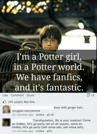 Life, Party, and Girl: 18  I'm a Potter girl,  in a Potter world.  We have fanfics,  and it's fantastic.  Like Comment Share  P 19  245 people like this.  boys with ginger hair,  muggles everywhere  21 minutes ago Unlike 318  Transfiguration, life is your creation! Come  on Dobby, let's go party (ah ah ah yeaah), come on  Dobby, let's go party (ooh whoa ooh, ooh whoa ooh)  12 minutes ago Unlike S