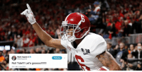 NFL players react to @AlabamaFTBL's wild #NationalChampionship WIN: https://t.co/MrpYrC5aBv https://t.co/L0f8xl5sZk: 18  Mark Ingram II  2Markingram22  Following  Roll Tide!!! Let's gooooo!!!!!  12:11 AM-9 Jan 2018 NFL players react to @AlabamaFTBL's wild #NationalChampionship WIN: https://t.co/MrpYrC5aBv https://t.co/L0f8xl5sZk