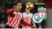 At-St, Memes, and Manchester City: 18  TRAnsFeR TALK  YOULLNEVER WALK ALONE  LIVERPOOL  NM FOOTBALL CLUB  CH  CITY Southampton defender Virgil van Dijk, 25, is ready to turn down Manchester City and Liverpool and stay at St Mary's beyond the end of the season.