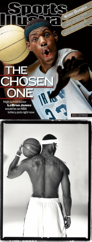 "18 years ago today, Sports Illustrated featured LeBron James on the cover with the headline: The Chosen One - High School Junior LeBron James would be an NBA lottery pick right now.  He got the ""Chosen 1"" tattoo shortly after. https://t.co/8qr90skT7C: 18 years ago today, Sports Illustrated featured LeBron James on the cover with the headline: The Chosen One - High School Junior LeBron James would be an NBA lottery pick right now.  He got the ""Chosen 1"" tattoo shortly after. https://t.co/8qr90skT7C"