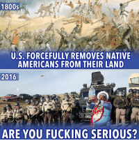 Stop me if you've heard this one...   #NoDAPL: 1800s  U.S. FORCEFULLY REMOVES NATIVE  AMERICANS FROM THEIR LAND  2016  ARE YOU FUCKING SERIOUS? Stop me if you've heard this one...   #NoDAPL