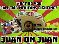LMAO Juan on Juan: WHAT DO YOU  CALL TWO MEXICANS  FIGHTING?  FB.COM/  EXICANWORDOFTHEDAY  WORDO  JUAN ON JUAN LMAO Juan on Juan