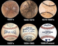 Mlb, Evolution, and Present: 1830's  KCE  1920's  1840-1870  SPADM  1950-1965  1870-1900's  *OFFICIAL*  MAJORLEAGUE BASEBALL  1998-Present The almost 200 year evolution of a baseball! 😍