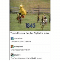 GET THOSE LITTLE MONEY PITS!! GET 'EM!!: 1845  The children are fast, but Big Bird is faster.  cup-o-fear  They never had a chance  spikeghost  what happened in 1845?  gay Cave  That's not the year, that's his kill streak. GET THOSE LITTLE MONEY PITS!! GET 'EM!!