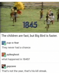 Children, Memes, and Ghost: 1845  The children are fast, but Big Bird is faster.  cup-o-fear  They never had a chance  spike ghost  what happened in 1845?  gay cave  That's not the year, that's his kill streak. its almost time to go disappoint my therapist