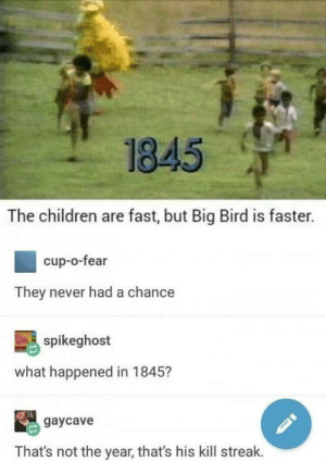 Children, Music, and Reddit: 1845  The children are fast, but Big Bird is faster.  cup-o-fear  They never had a chance  spikeghost  what happened in 1845?  gaycave  That's not the year, that's his kill streak. memescog:   me_irl  Follow Memescog Join us on Discord Subscribe to my Music Channel  Oooooooooiiooooooooof