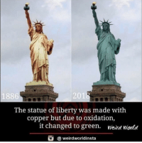 Weird, History, and Statue of Liberty: 1886  2018  The statue of liberty was made with  copper but due to oxidation,  it changed to green. weird world  @weirdworldinsta