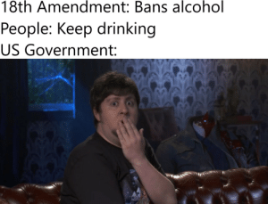 Am I a joke to you?: 18th Amendment: Bans alcohol  Реople: Keep drinking  US Government: Am I a joke to you?