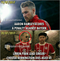 Memes, Weird, and Aaron Ramsey: 19/07/2017  OriginalTrollFootball  AARON RAMSEY SCORES  A PENALTY AGAINST BAYERN  20107 12017  OriginalTrollEootbal  LINKIN PARK LEAD SINGER  CHESTER BENNINGTION DIES AGED4 This is weird 😱 ... ➡️Credit: @originaltrollfootball