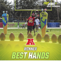 Disney, Espn, and Memes: 19  PRO BOWL  SKILLS SHOWDOWN  10  ONE  HAND  SIDELINE  ALL ACCES5  ALL IN  3  WINNER  BEST HANDS The AFC wins the Best Hands competition!  📺: #ProBowlSkills on ESPN + Disney XD https://t.co/QzQWu5R256