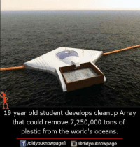 Memes, Old, and 🤖: 19 year old student develops cleanup Array  that could remove 7,250,000 tons of  plastic from the world's oceans.  団/d.dyouknowpage! @didyouknowpage