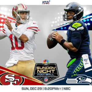 Game 256. For the NFC West title.  @49ers vs @Seahawks is being flexed to Sunday Night Football in Week 17! #SFvsSEA  📺: Sunday, December 29 | 8:20pm ET on NBC https://t.co/xhgxm7yFMv: 190  AHA  ron  NFL  * NBC  Wilon.  SUNDAY  NIGHT  FOOTBALL  NFL  SUN, DEC 29 |8:20PMET | NBC Game 256. For the NFC West title.  @49ers vs @Seahawks is being flexed to Sunday Night Football in Week 17! #SFvsSEA  📺: Sunday, December 29 | 8:20pm ET on NBC https://t.co/xhgxm7yFMv